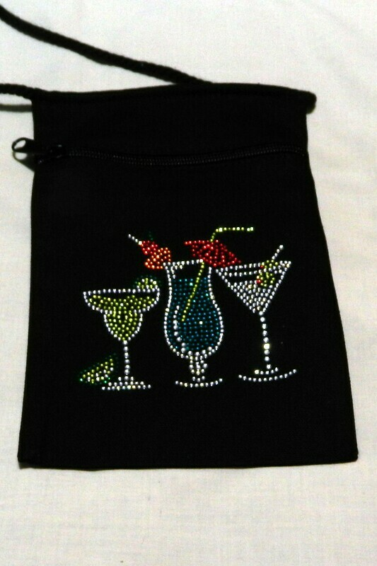 BEACHY COCKTAILS  Zipperd Embellished Pouch -Black only