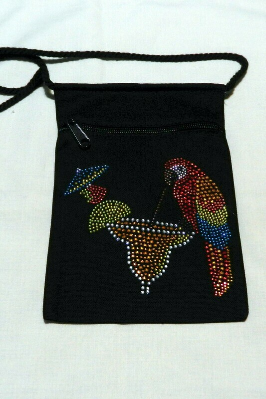 PARROT W COCKTAIL Zipperd Embellished Pouch -Black only