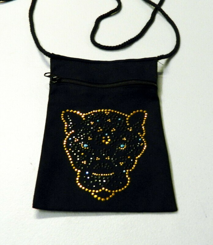 Tiger Head Zipperd Embellished Pouch -Black only
