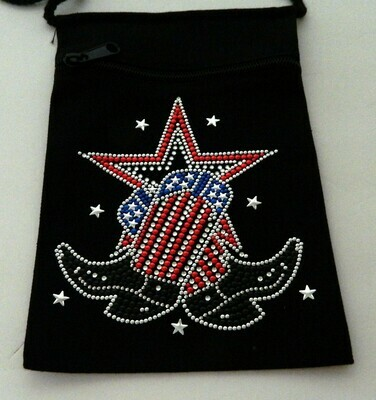 USA BOOT W STAR Zipperd Embellished Pouch -Black only