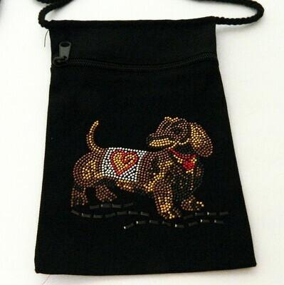 DACHSHUND Zipperd Embellished Pouch