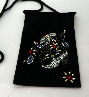 COWBOY BOOT w  FLOWERS  Zipperd Embellished Pouch