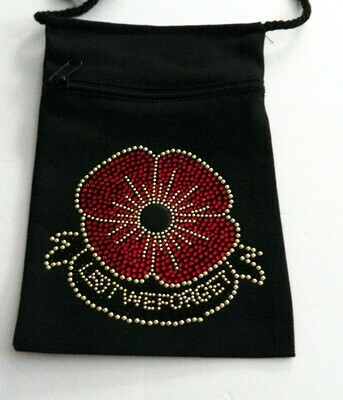 VETERANS DAY POPPY   - Lest we Forget  Zippered Embellished Pouch -Black only
