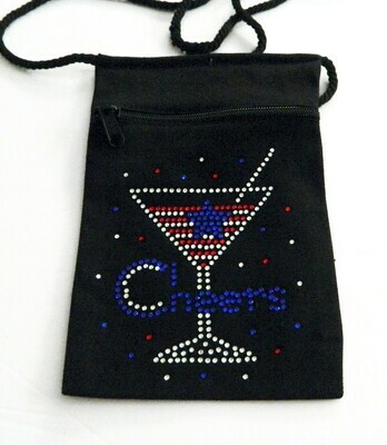 CHEERS  - Red/White & Blue  Zippered Embellished Pouch