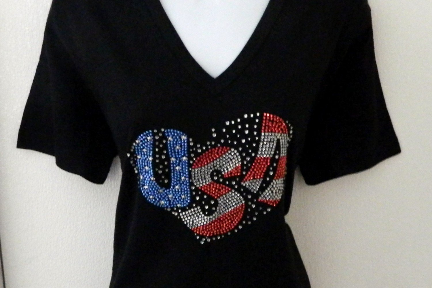 USA SPARKLE LETTERED HEART
