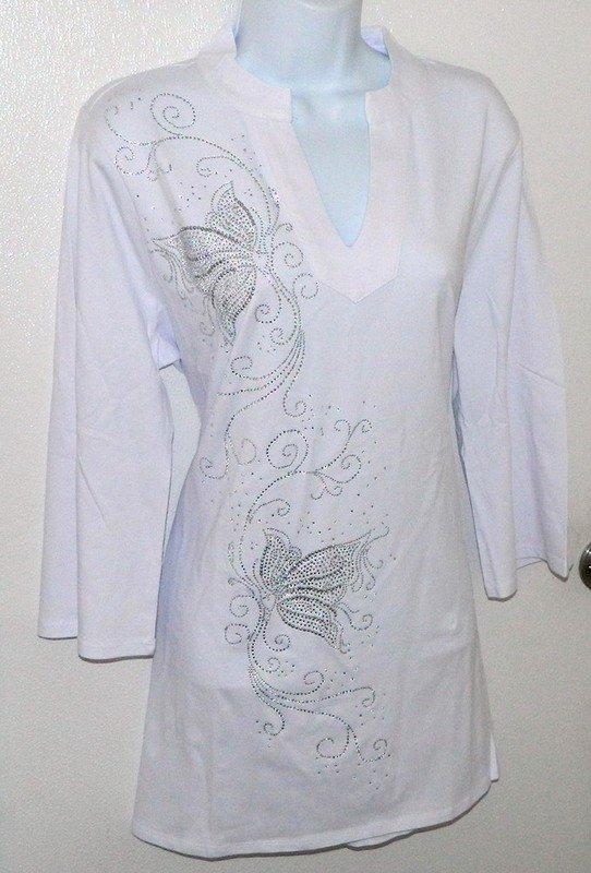 Tunic -  Silver Butterfly Design w Mandarin Collar