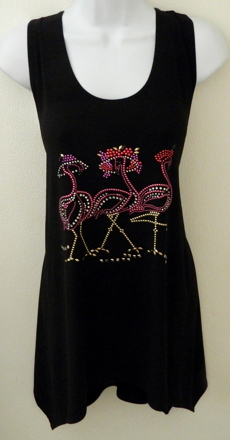 SLEEVELESS Tunics - 3 Flamingos w Red Hats