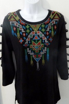 AZTEC DESIGN Round Neckline +Ladder Sleeve-YELLOW