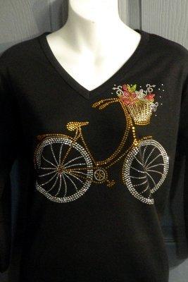 Bike w Basket of Flowers- Large design