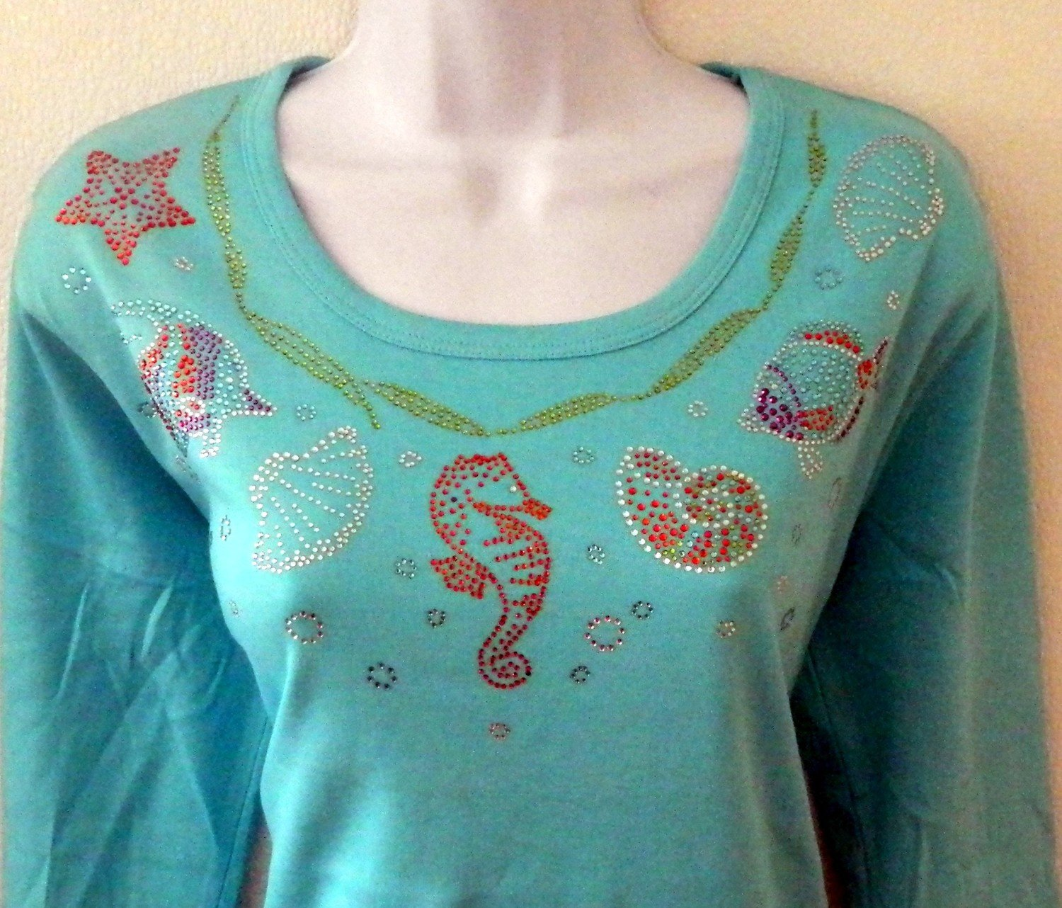 SEA LIFE   Round Neckline  - 3 pieces  design embellished sleeves
