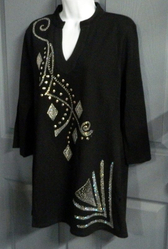 Tunic -   Mandarin Collar  w Fancy AB diamond designs