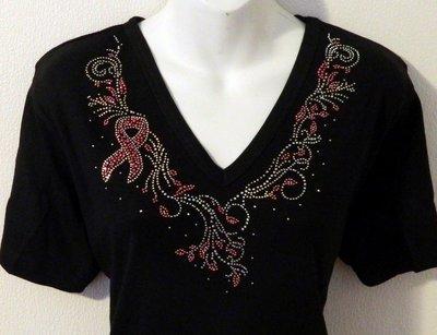Cancer Pink Ribbon VNeckline w Embellished Sleeve