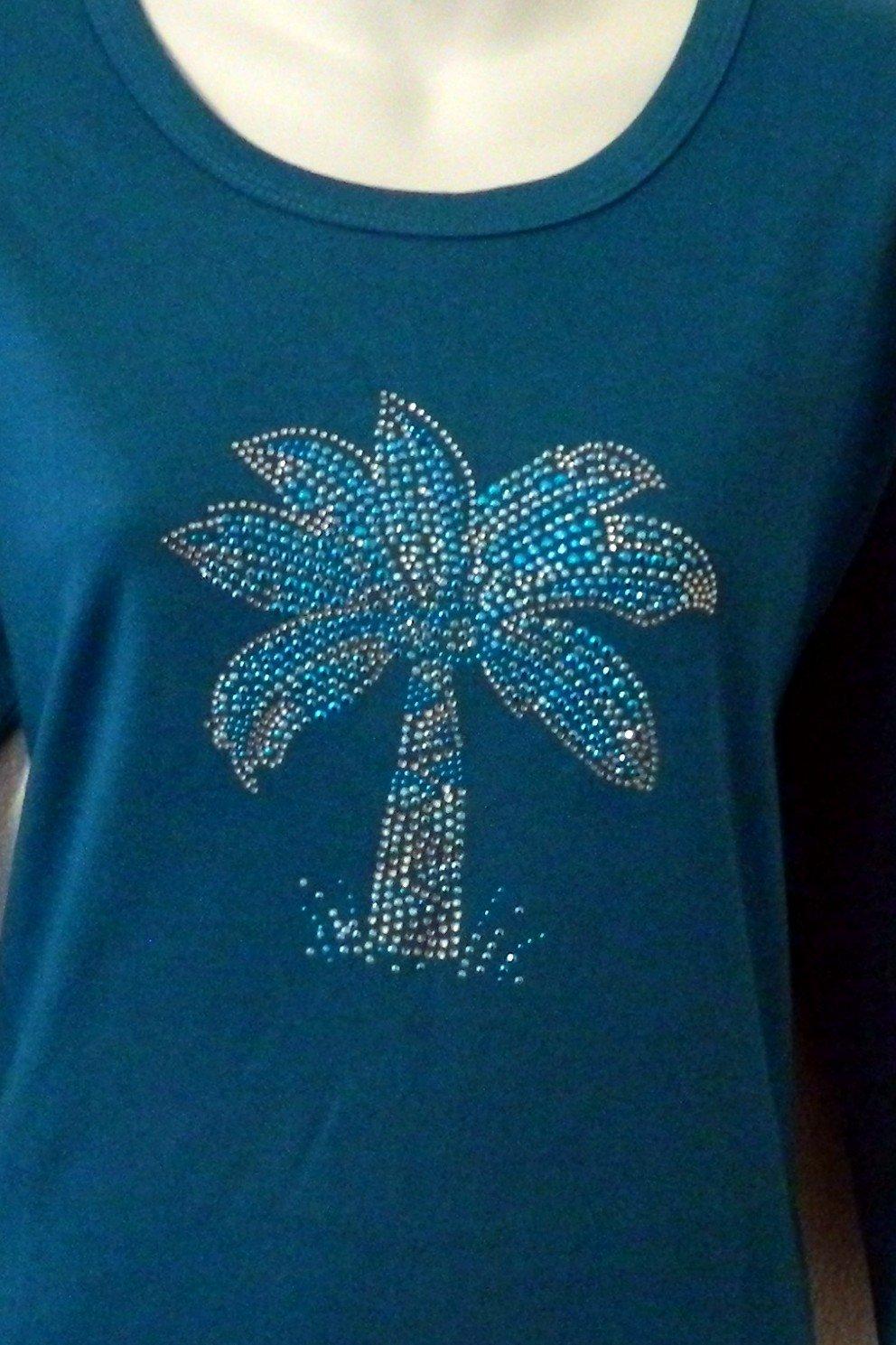 Palm Tree design -  Aqua on Teal