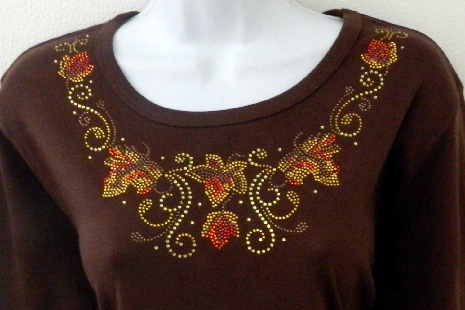 Autumn Leaves gold stones accents   w embellished sleeves