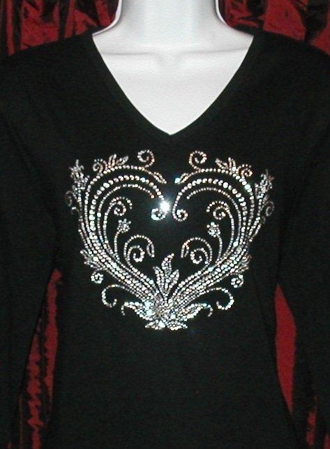 Valentine Ornate SILVER Rhinestones Heart