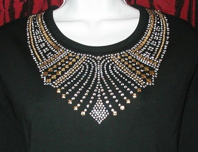 Gold & Silver  - ornate collar style neckline