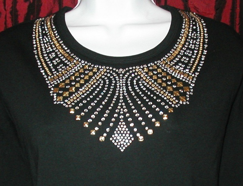 Gold & Silver  - ornate collar style neckline