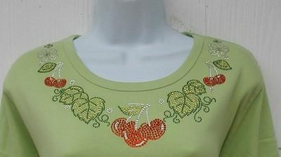 Cherry & Leaves Neckline       Round Neckline shirt