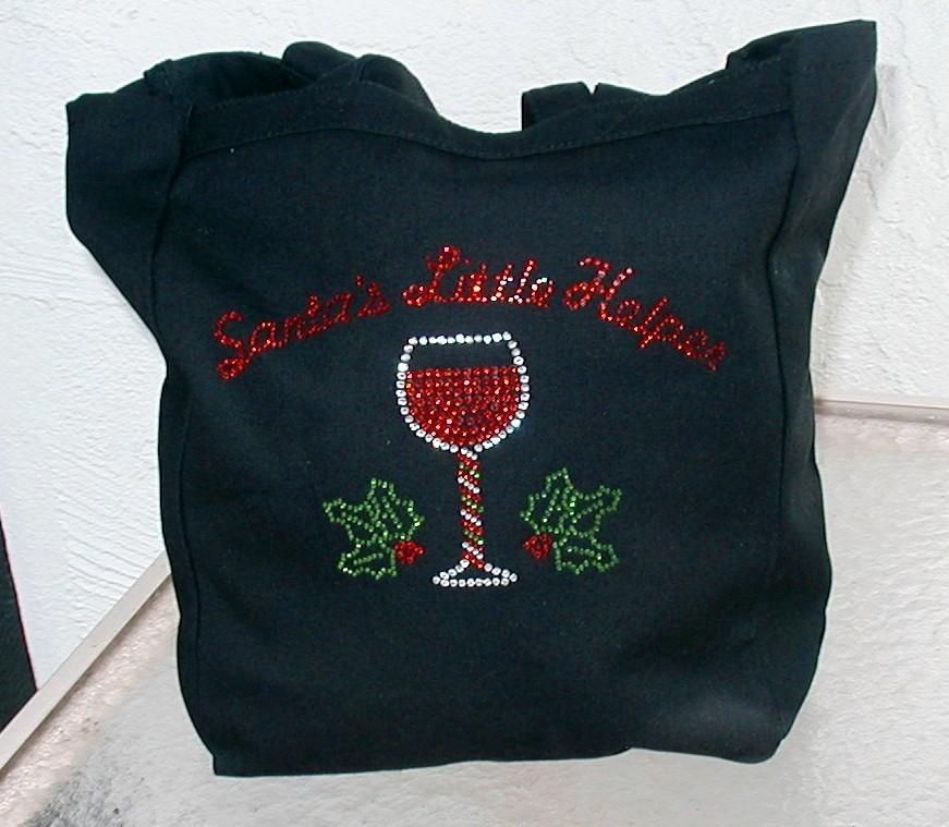 Christmas Wine Tote- Santa's Little Helper