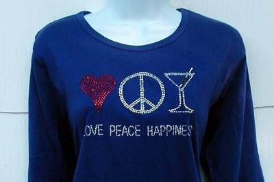 Love, Peace & Happiness -heart,peace sign, martini