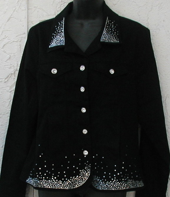 Western Cut Black Denim Jacket w Rhinestone Buttons -elegant  spray design
