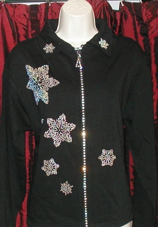Christmas Snowflake Crystal Zippered Cardigan