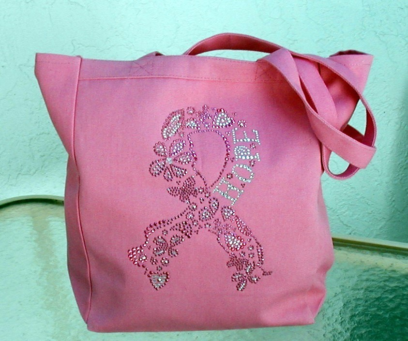 Breast Cancer Pink Ribbon Tote