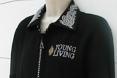 Young Living Logo on Rhinestone Zippered Cardigan