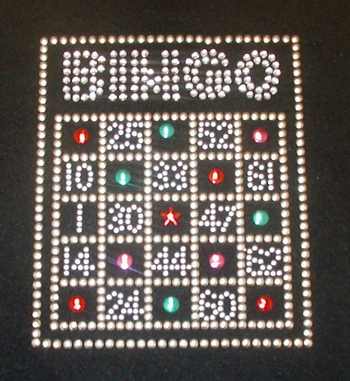 Bingo Card - Colors + gold & silver studded design