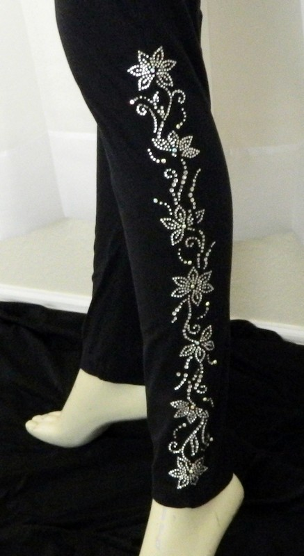 Leggings   - flower side design  (both legs)