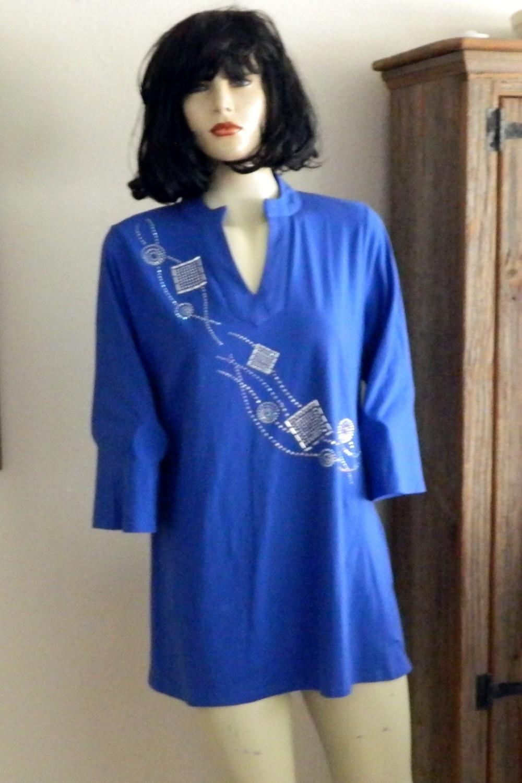 Tunic -   Mandarian Collar/abstract design
