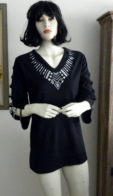 Tunic -  Ladder Sleeve w  Geometric Design