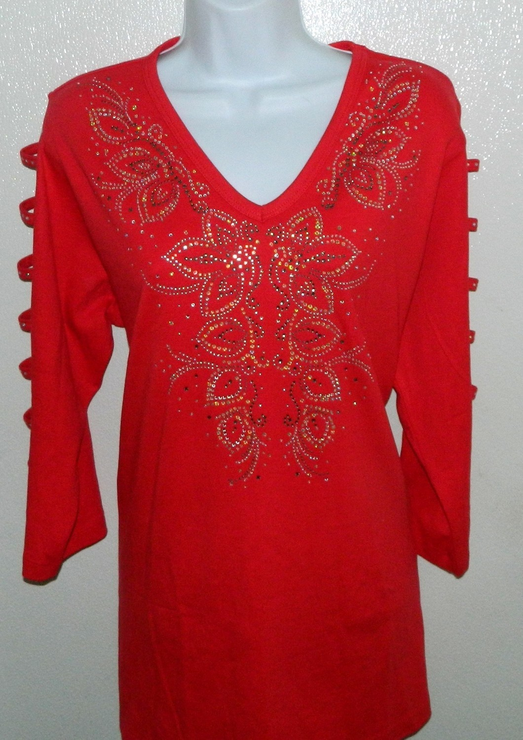 Red Tunic with Panel Design -  Ladder Sleeve