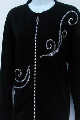 Rhinestone Crystal Zippered Cardigan w Twisted Vine Design (no collar on jacket)
