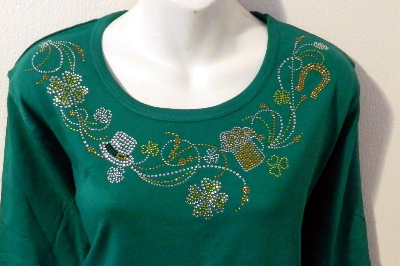 St Paddy's Day Neckline w embellished sleeves -Beer & Shamrocks