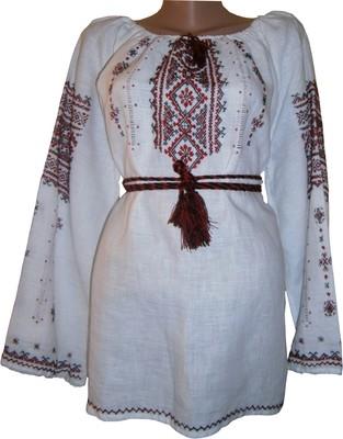 Вишиванка ручної роботи, жіноча вишита на льоні (Арт. 02505)