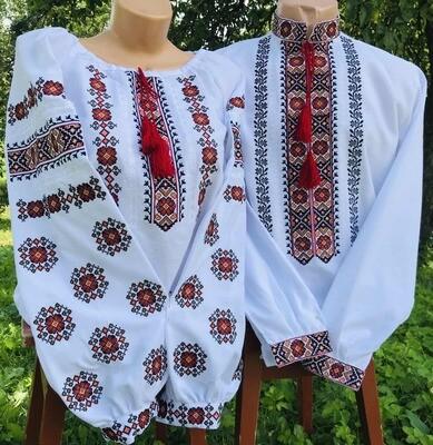 Пара вишиванок, жіноча та чоловіча вишиванка - комплект вишиванок для чоловіка і жінки (Арт. 02357)