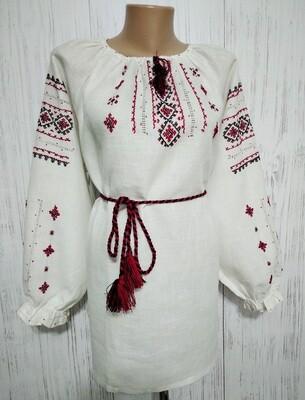 Вишиванка ручної роботи, жіноча вишита на льоні (Арт. 02369)