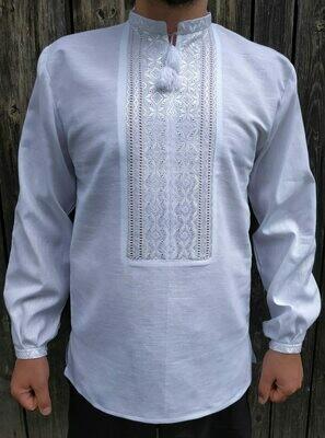 Вишиванка ручної роботи, чоловіча сорочка білим по білому (Арт. 02396)