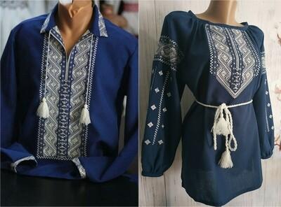 Пара вишиванок, жіноча та чоловіча вишиванка - комплект вишиванок для чоловіка і жінки (Арт. 02405)