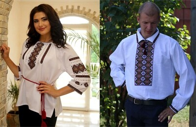 Пара вишиванок, жіноча та чоловіча вишиванка - комплект вишиванок для чоловіка і жінки (Арт. 02409)