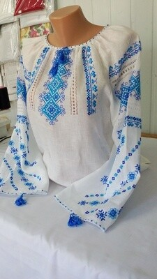 Вишиванка ручної роботи, жіноча вишита на льоні (Арт. 02469)
