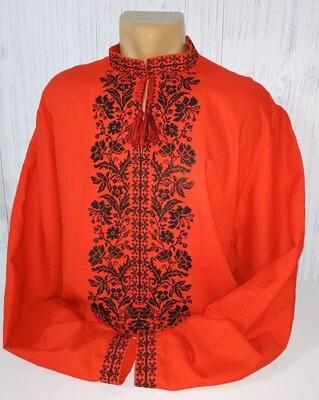 Вишиванка, чоловіча вишита сорочка на червоному домотканому полотні (Арт. 02528)