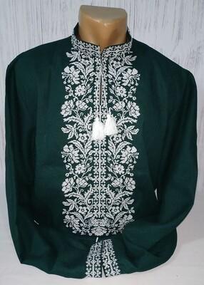 Вишиванка, чоловіча вишита сорочка на зеленому домотканому полотні (Арт. 02534)