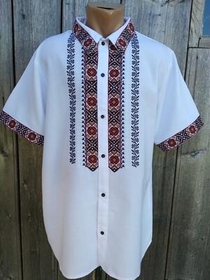 Вишиванка, чоловіча вишита сорочка з ґудзиками (Арт. 02559)