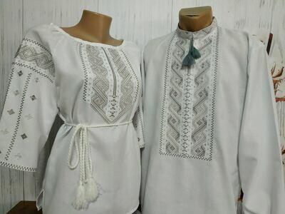 Пара вишиванок, жіноча та чоловіча вишиванки - комплект вишиванок для чоловіка і жінки (Арт. 00030)