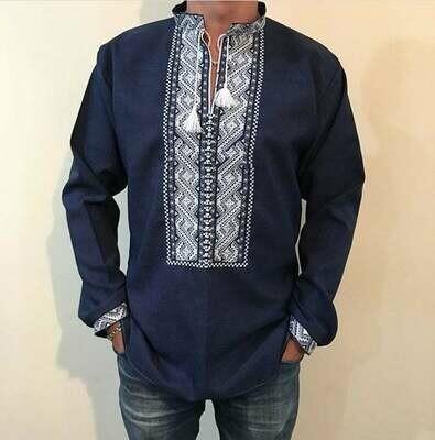 Вишиванка, чоловіча вишита сорочка на темно-синьому льоні (Арт. 00042)