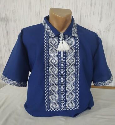Вишиванка, чоловіча вишита сорочка на темно-синьому домотканому полотні (Арт. 02575)