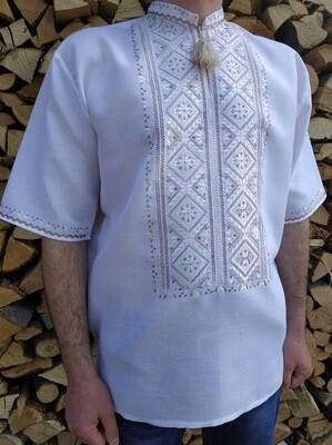 Вишиванка, чоловіча вишита сорочка кавовими нитками на білому полотні (Арт. 02585)