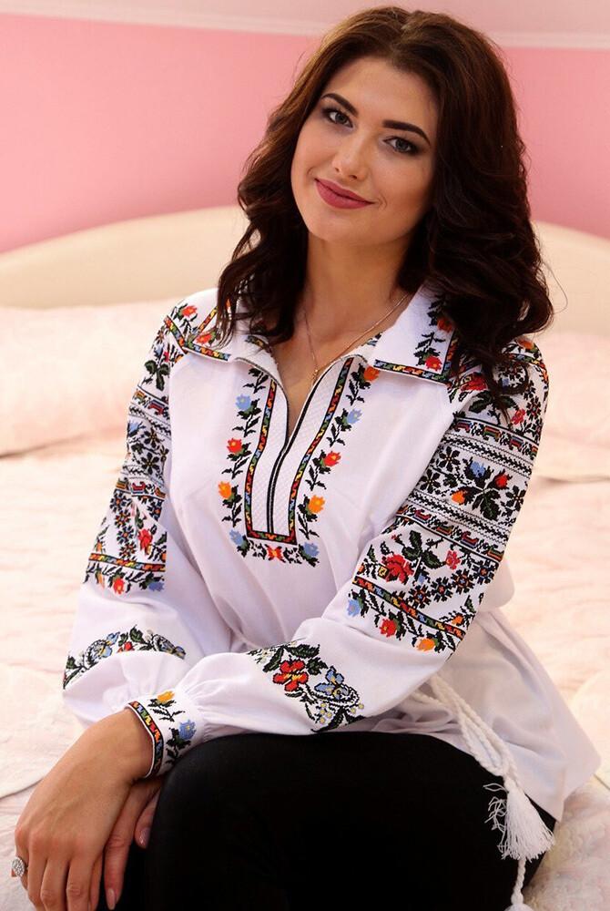 Вишиванка, жіноча вишивана блузка на домотканому полотні (Арт. 01715)